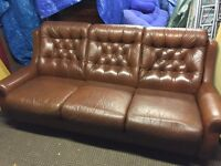BROWN LEATHER 3 SEATER SOFA,CAN DELIVER
