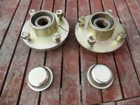 """Trailer Hubs and Taper Bearings (1"""") 4 Stud, 4"""" PCD inc nuts & dust caps"""
