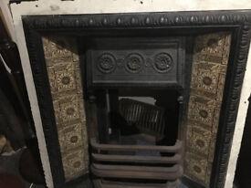 Gorgeous Original Antique Victorian Cast Iron Tiled Fireplace Insert