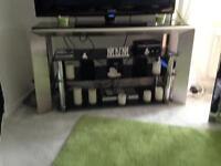 Black Shiny TV Unit on Thick Silver Legs