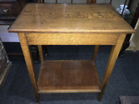 Beautiful Small Golden Oak Vintage Console Side Table
