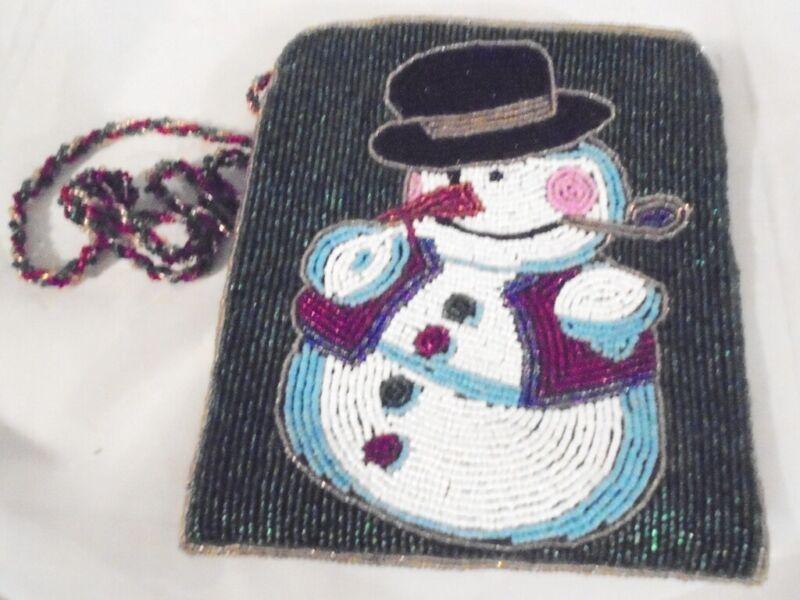 Christmas Snowman Beaded Shoulder Purse, Bag, Handbag