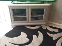 Grey and white TV unit