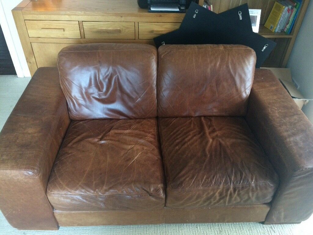 Brown Leather Sofa Natuzzi 2 Seater In Dunfermline