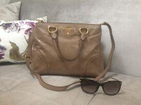 PRADA Vitello Shine Leather Shoulder Bag Tote. Light Brown. Cammeo