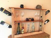 Handmade wine rack from reclaimed wood, kitchen storage, wine bottle holder