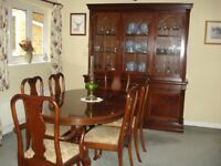 Reprodution mahogany disply cabinet / dresser with matching oval table and six chairs
