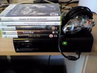 Xbox 360 elite 250gb with 5 games