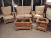 2 seater sofa 2 chairs 2 tables wicker conservatory furniture
