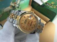 New Swiss Men's Rolex Oyster Datejust Perpetual Automatic Watch, golden dial two tone