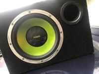 """12"""" fusion subwoofer with amp excellent condition"""