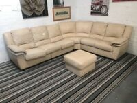 Large Real Leather Corner Sofa pull out bed comfy