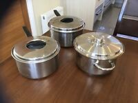 2 Large Prestige copper bottomed stainless steel cooking pots/ 1 stainless steel casserole pot