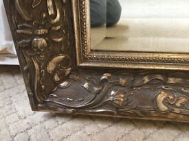 Stunningly Beautiful Quality (Flemish) Mirror. Exquisitely Decorated Frame Details. Bevelled Edges.
