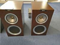 KEF R300 speakers in walnut