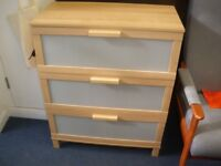 IKEA 3-DRAWER CHEST OF DRAWERS