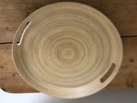 White lacquer round bamboo tray