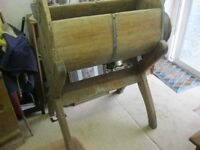 RARE ANTIQUE WOODEN LARGE 'BARREL' BUTTER CHURN ON DETACHABLE STAND. GREAT FIND. DELIVERY POSSIBLE