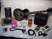 Rockburn LP2 Style Silver Burst Guitar Package with 10W Amp, Gig Bag, Effects Pedals, Leads, Strings