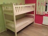 Marks & Spencer white wooden bunk beds with mattresses in excellent condition.