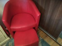 Bright red chair and footstool great condition must see.