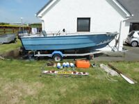 5m Fishing Boat with trailer, 50HP and 4HP Outboards.