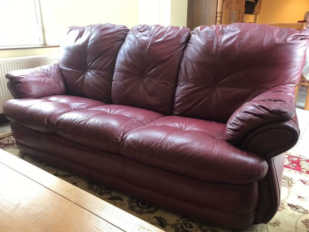 Awesome Wine Leather Sofa And 2 X Recliner Chairs In Newry County Down Gumtree Gamerscity Chair Design For Home Gamerscityorg