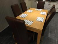 John Lewis Oak Dining Table & 6 Leather Chairs RRP £2400