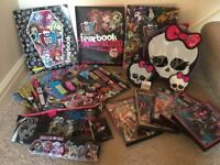 Monster High - books,magazines,DVDs VGC & unused lunchbag,pencilcase,stationery tin,mirror,purse