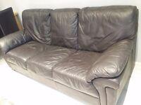3 seater leather sofa dark brown