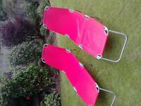 2 Red sun loungers. Good condition. £20 ono