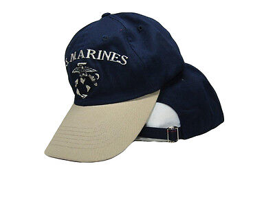 USMC Marine Marines Navy Blue and Stone Khaki EGA Ball Cap Hat Cover