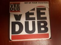 Vee Dub Volkswagon Drinks Coasters. Set of Four. Brand new in box.