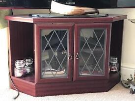 Dark wood corner tv stand cabinet with glass doors