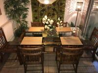 STUNNING!!! Bamboo and Glass dining table and 6 Chairs
