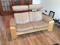 EKORNES PEGASUS LEATHER SOFAS x 2. Free delivery on Monday