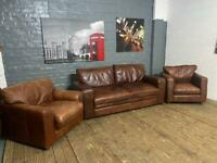 REAL LEATHER SOFA SET VINTAGE LOOK 3-1-1 seater