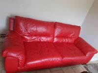 Leather 4 seater sofa red colour-like new