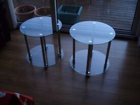 Pair of Round Clear Glass and Chrome Trolley Side Tables with Lockable Wheels and Lower Shelf