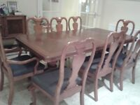 Dining Table & Chairs Seats 8 -10 Table extends