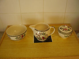 JOHNSON BROS INDIAN TREE MILK JUG AND 2 SUGAR BOWLS