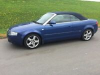 2004 AUDI A4 2.0 PETROL CONVERTIBLE # DENIM BLUE# M.O.T. FULL YEAR # BLACK LEATHER INTERIOR