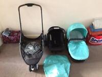 Mothercare xpedior 3 wheel travel system - aqua