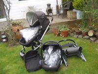 MAXI COSI BUGGY / CAR SEAT + MOTHERCARE MY4 PUSHCHAIR BLACK
