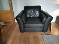 Brown leather corner suite and chair