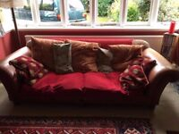 Leather armed large 3 seater sofa