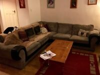 L shaped corner Sofa for sale - black and grey - good condition