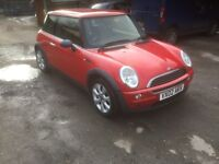 Mini one in SPORTS red 2002 car with long mot. UPGRADED ALLOYS.