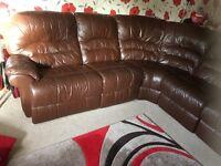 6 seater chocolate brown leather corner sofa