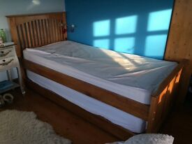 Single solid wood bed with guest bed. Truckle type